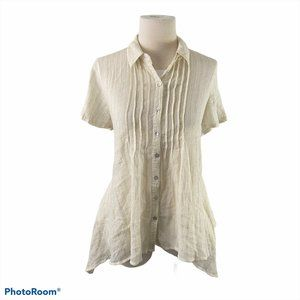 JACLYN SMITH Beige Button Down Shirt